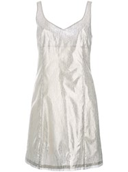 Julien David Round Neck Fitted Cocktail Dress Grey