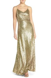 Jenny Yoo Women's 'Jules' Sequin Blouson Gown With Detachable Back Cowl Gold