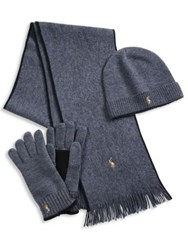 Polo Ralph Lauren Three Piece Merino Wool Scarf Beanie And Gloves Set Navy Black Charcoal