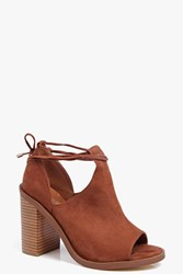 Boohoo Peeptoe Wrap Strap Block Heel Shoe Boot Tan