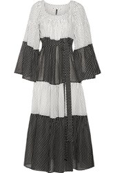 Lisa Marie Fernandez Tiered Polka Dot Cotton Voile Maxi Dress White