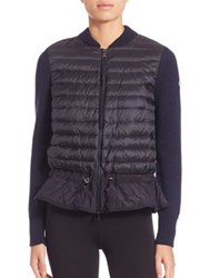 Moncler Maglione Knit Puffer Cardigan Navy Black