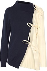 Jacquemus Tie Side Two Tone Wool Sweater Navy