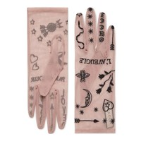 Gucci Tulle Gloves With Symbols Embroidery Pink