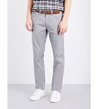 Polo Ralph Lauren Slim Fit Straight Cut Stretch Cotton Trousers Metallic Grey
