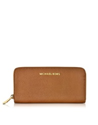 Michael Kors Luggage Jet Set Travel Saffiano Leather Continental Wallet Brown