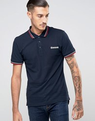 Lambretta Mens Tipping Pique Polo Navy