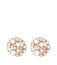 Susan Foster Diamond Cluster Earrings White