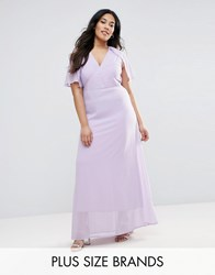 Club L Plus Maxi Dress With Cape Back Lilac Purple