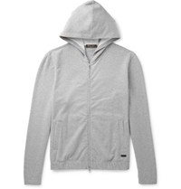 Loro Piana Loopback Stretch Cotton Jersey Zip Up Hoodie Gray