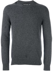 Alexander Mcqueen Distressed Jumper Grey