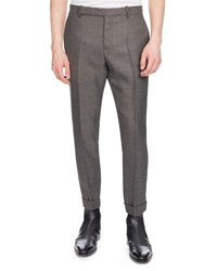 Berluti Heathered Wool Twill Pants Gray