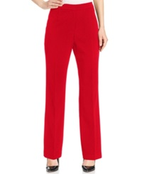 Kasper Straight Leg Crepe Pants Fire Red