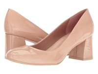 French Sole Trance Nude Patent Leather Women's Flat Shoes Beige