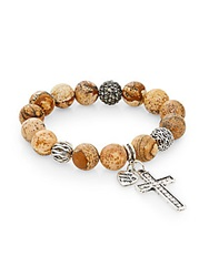 Cara Natural Jasper Bead Cross Charm Bracelet