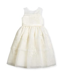 Joan Calabrese Sleeveless Satin And Tiered Organza Special Occasion Dress Ivory