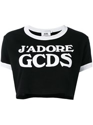 Gcds Logo Cropped T Shirt Black