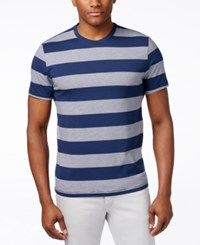 Alfani Red Men's Heather Wide Stripe T Shirt Only At Macy's Modern Navy Combo