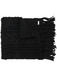 Woolrich Cable Knit Scarf Black