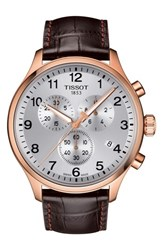 Tissot Chrono Xl Collection Chronograph Leather Strap Watch 45Mm Brown Silver Rose Gold