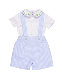 Florence Eiseman Peter Pan Collar Train Shirt W Striped Pinpoint Shorts And Suspenders Multi