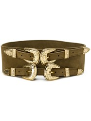 B Low The Belt Double Buckle Women Calf Leather Metal S Green