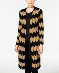 Ny Collection Chevron Open Front Duster Cardigan Black Tan