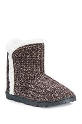 Muk Luks Lug Faux Fur Lined Bootie Brown