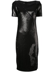 Akris Metallic Shift Dress Women Polyester Spandex Elastane Mulberry Silk 34 Black