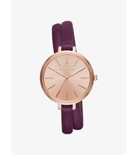 Jaryn Rose Gold Tone And Leather Wrap Watch