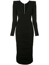 Alex Perry Clove Ruched Fitted Dress Black