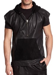 Giuseppe Zanotti Perforated Short Sleeve Leather Hoodie Black