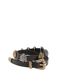 Etro Leather Belt W Sliding Metal Details Black