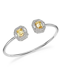Judith Ripka Sterling Silver Avery Baguette Cuff With Canary Crystal And Rock Crystal Yellow Silver