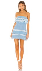 X By Nbd Diana Mini Dress In Blue. Baby Blue And White