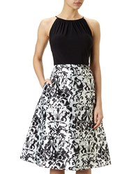 Adrianna Papell Halter Neck Jersey Bodice Mikado Party Dress Black White