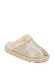 Isaac Mizrahi Kacisko Metallic Faux Shearling Slippers Gold