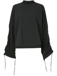 Strateas Carlucci Ruched Sleeve Blouse Black