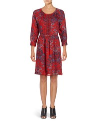 Lucky Brand Floral A Line Dress Red