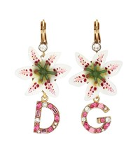 Dolce And Gabbana Embellished Earrings Pink