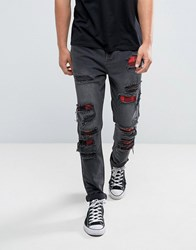 Cayler And Sons Skinny Jeans In Black With Distressing Black