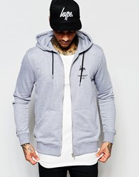 Hype Hoodie With Zip Through Grey