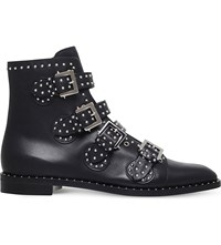 Givenchy Studded Leather Ankle Boots Black Comb