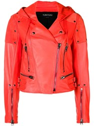 Tom Ford Biker Cropped Jacket Red