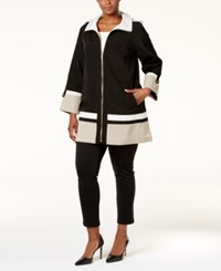Jones New York Plus Size Colorblocked A Line Coat Black Combo