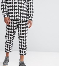 Reclaimed Vintage Inspired Relaxed Trousers In Harlequin Print Black