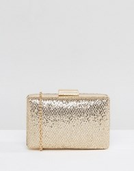 Chi Chi London Metallic Scale Box Clutch Bag Gold
