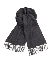 Neiman Marcus Cashmere Solid Fringe Scarf Gray Grey