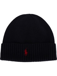Polo Ralph Lauren Logo Embroidered Beanie Blue