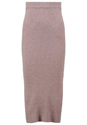 Warehouse Pencil Skirt Neutral Twist Off White